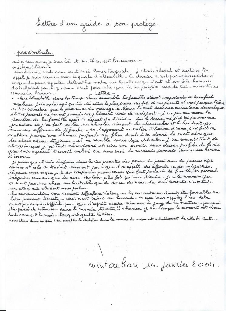 Communication d'un guide à son protégé, le 14 janvier 2004.