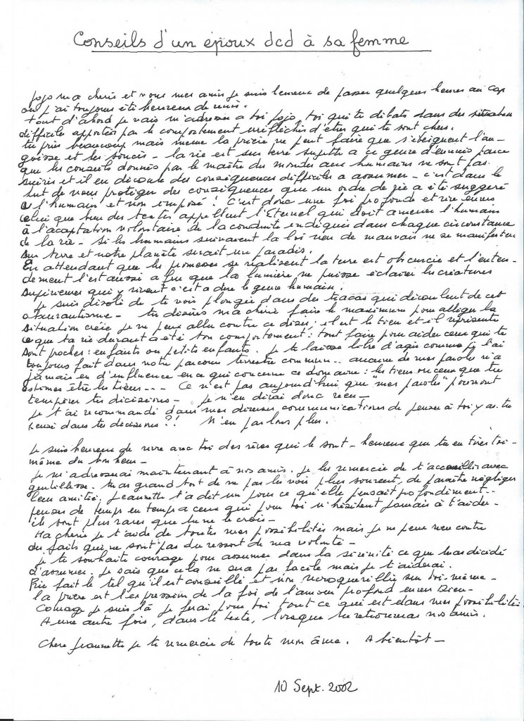 Communication d'un époux à sa femme, le 10 septembre 2002.