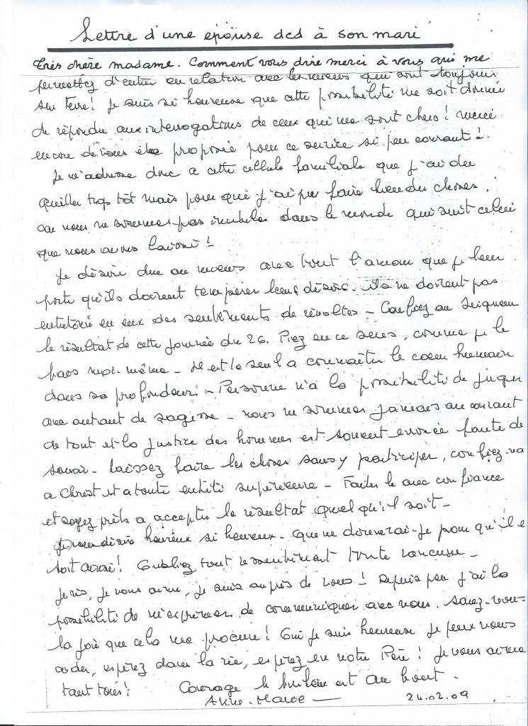 Communication d'une épouse à son mari, le 24 février 2009.