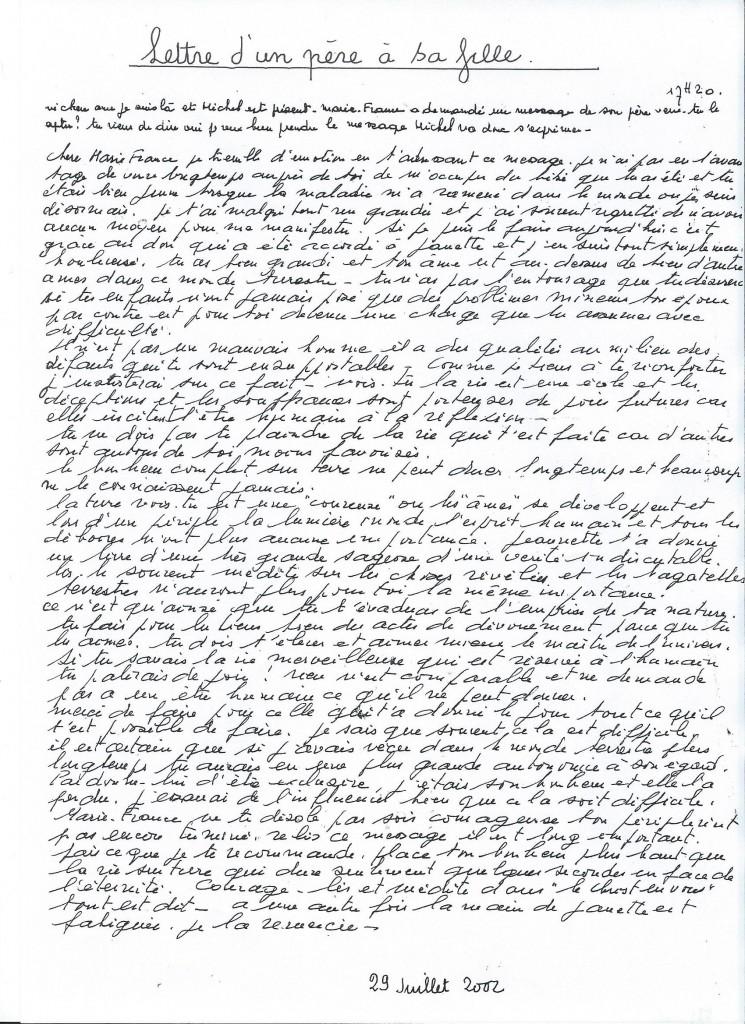 Communication d'un père à son fille, le 29 juillet 2002