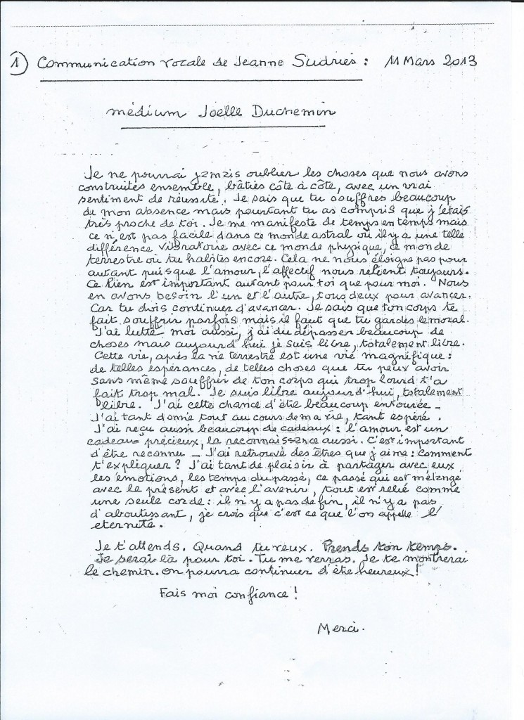 Retranscription d'une communication de Jeanne le 11 mars 2013.