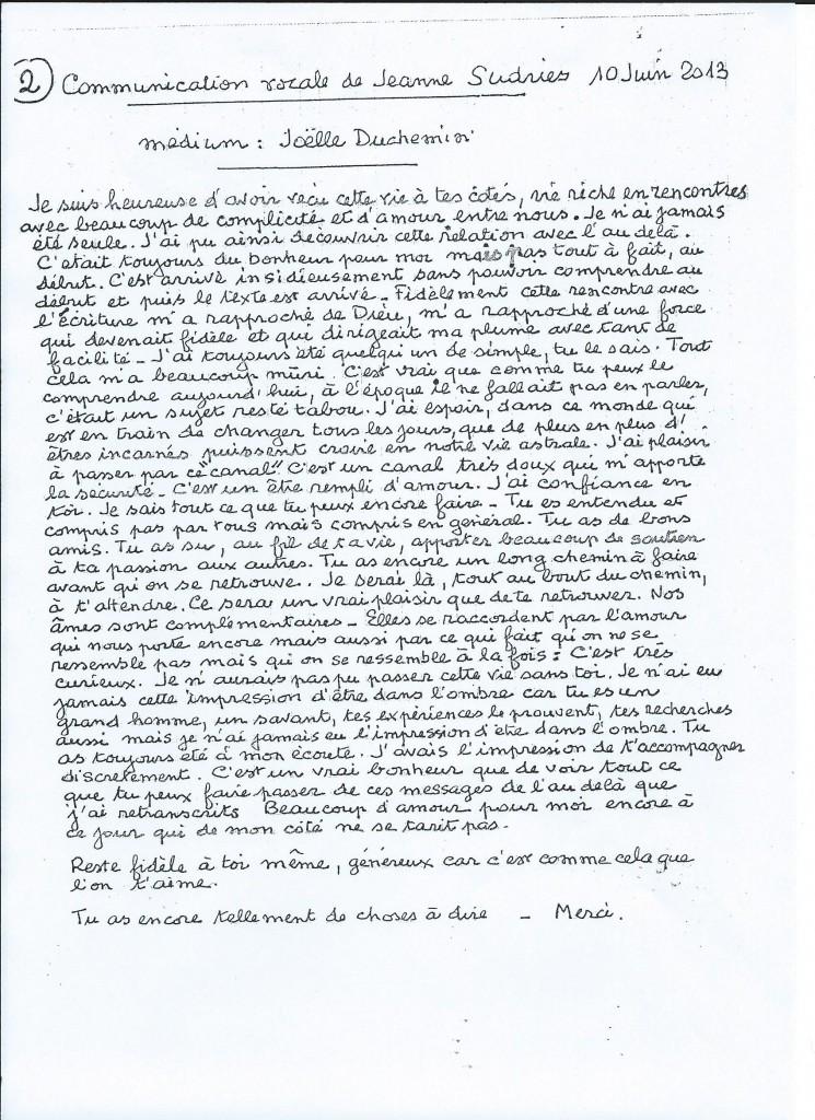 Retranscription d'une communication de Jeanne le 10 juin 2013.