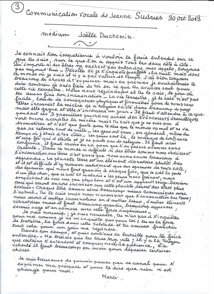 Retranscription d'une communication de Jeanne le 30 octobre 2013.
