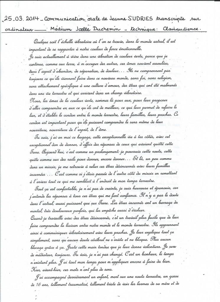 Retranscription d'une communication de Jeanne le 25 mars 2014. (1/2)