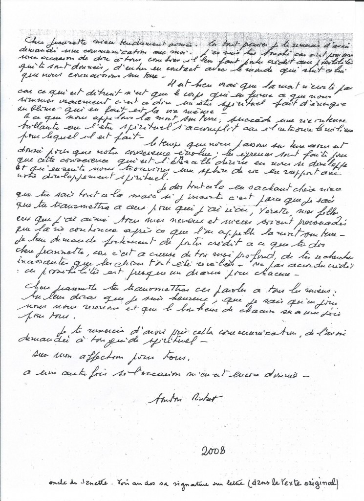 Communication de Monsieur Robert B. en 2008.
