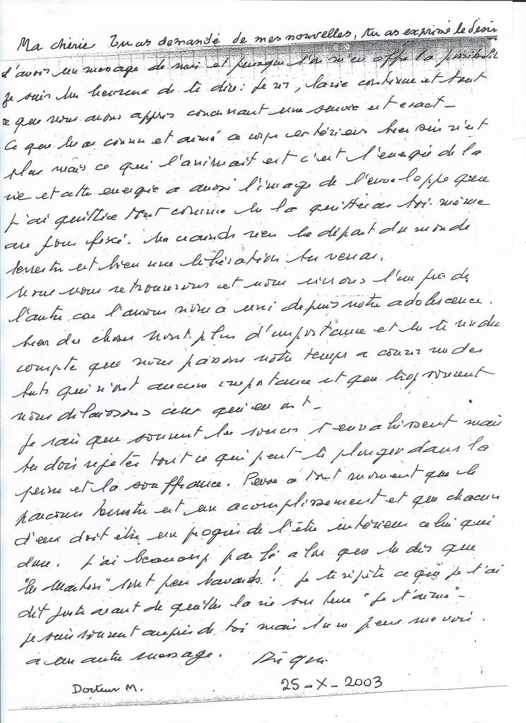 Communication du Docteur Henri M. le 25 octobre 2003.