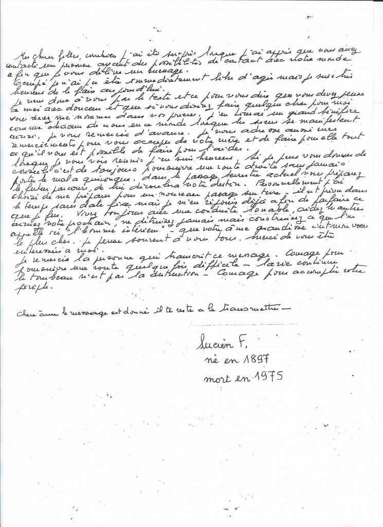 Communication de Monsieur Lucien F. 25 ans après son décès.