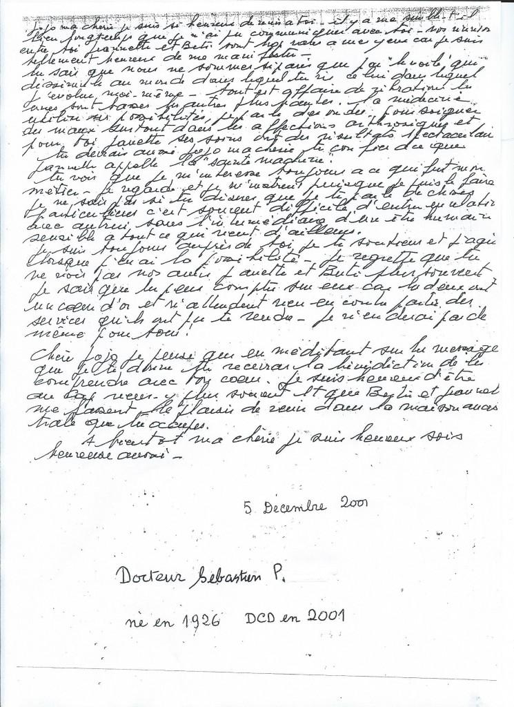 Communication du Docteur Sébastien P. le 5 Décembre 2001.