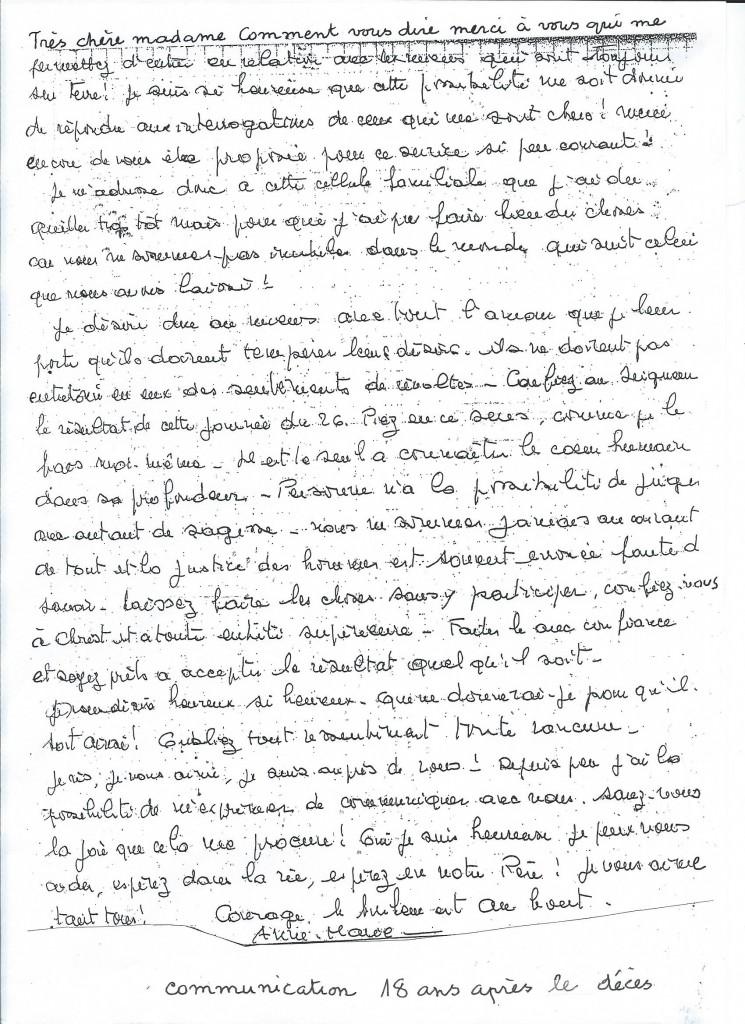 Communication de Madame Anne Marie R. 18 ans après son décès.