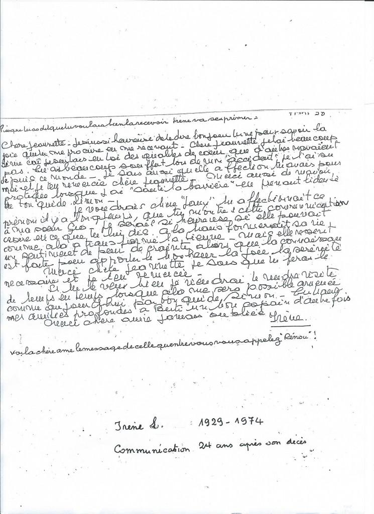Communication de Madame Irène L. 24 ans après son décès.
