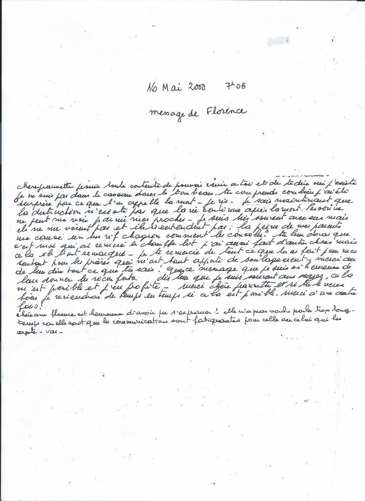 Communication de Madame Florence M. le 17 Mai 2000.