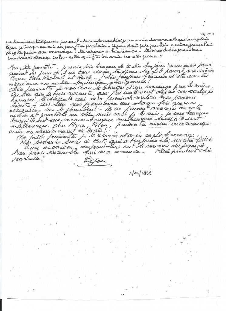 Communication de Madame A. le 1er  Janvier 1999.