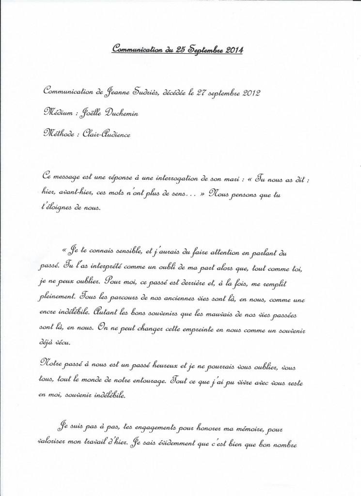 Retranscription d'une communication de Jeanne le 25 septembre 2014. (1/3)