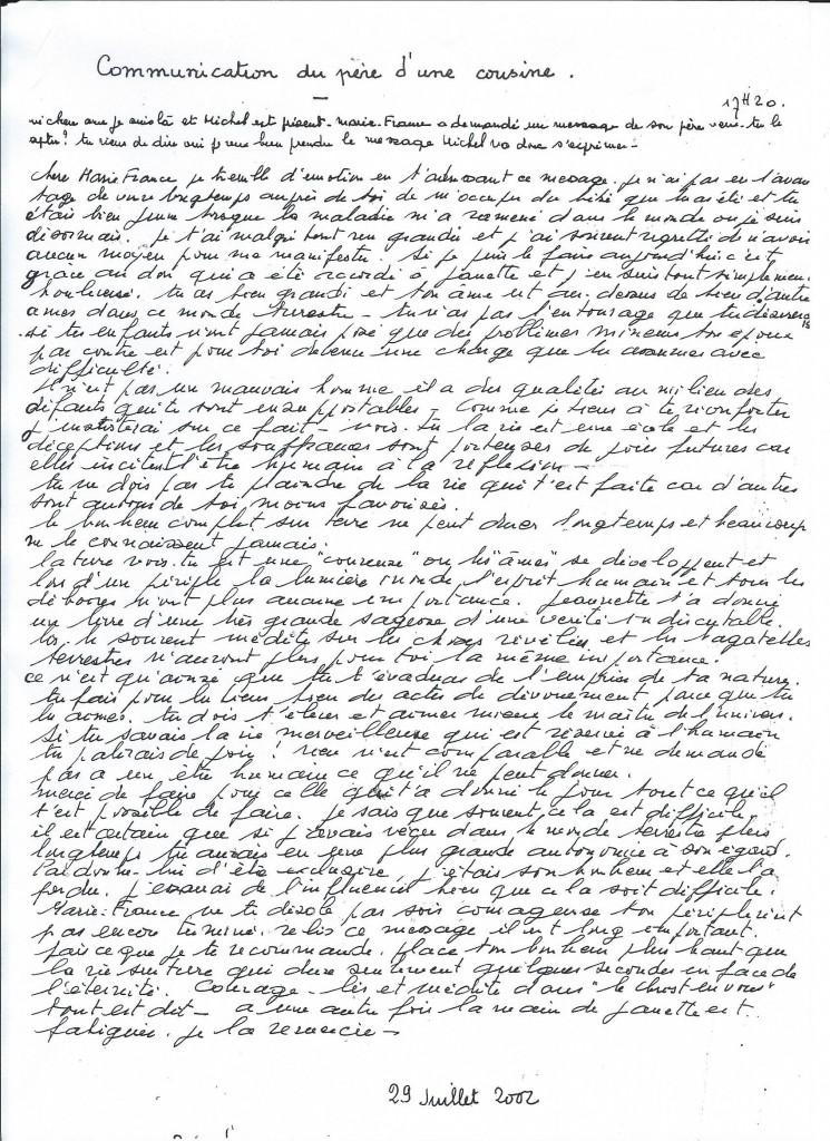 Communication de Michel B. le 29 Juillet 2002.
