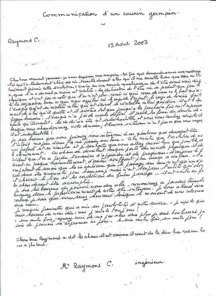 Communication de Raymond C. le 12 Août 2003.
