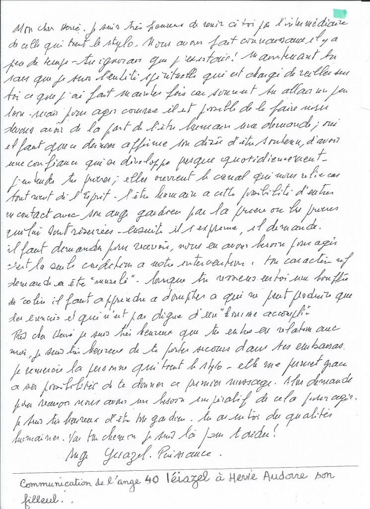 Communication de l'Ange Léiazel à son filleul Hervé.