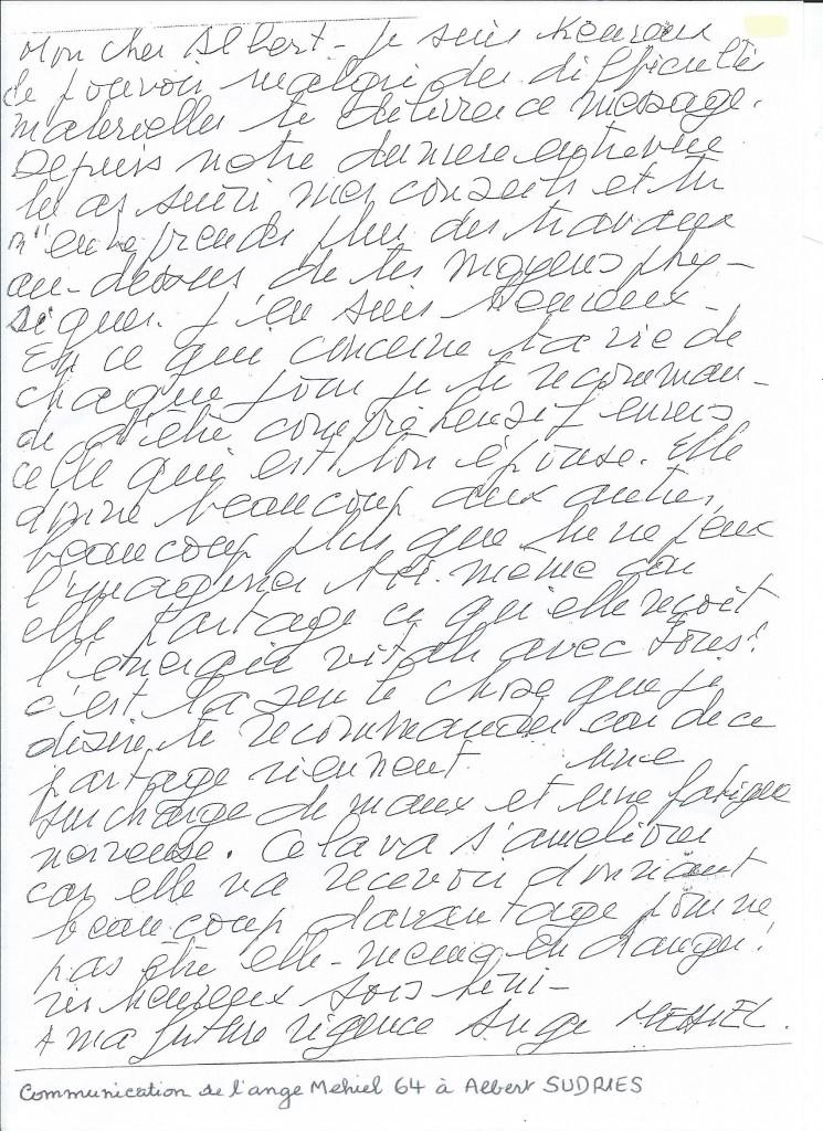 Communication de l'Ange Mehiel à son filleul Albert.