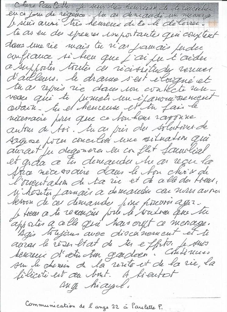 Communication de l'Ange Yéiayel à sa filleule Paulette.