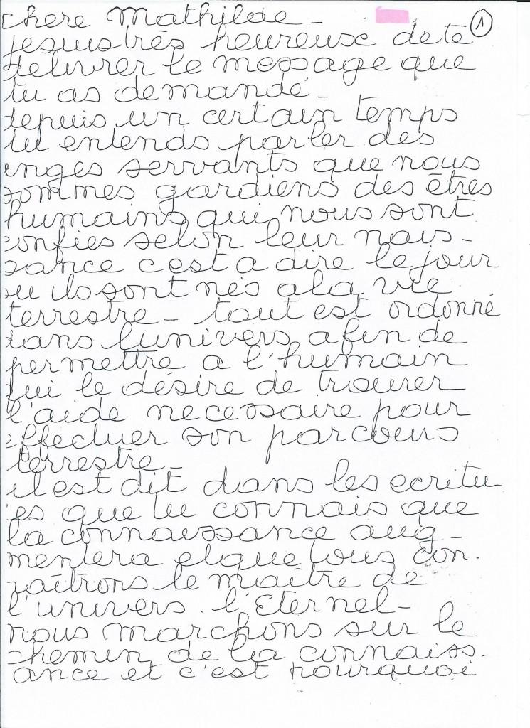 Communication de l'Ange Harahel à sa filleule Mathilde. (1/2)