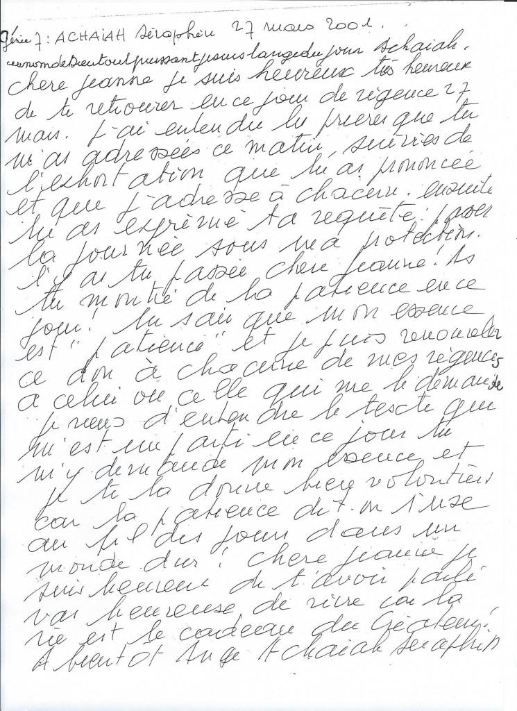 Communication du Génie numéro 7, Achaiah, le 27 mars 2001.