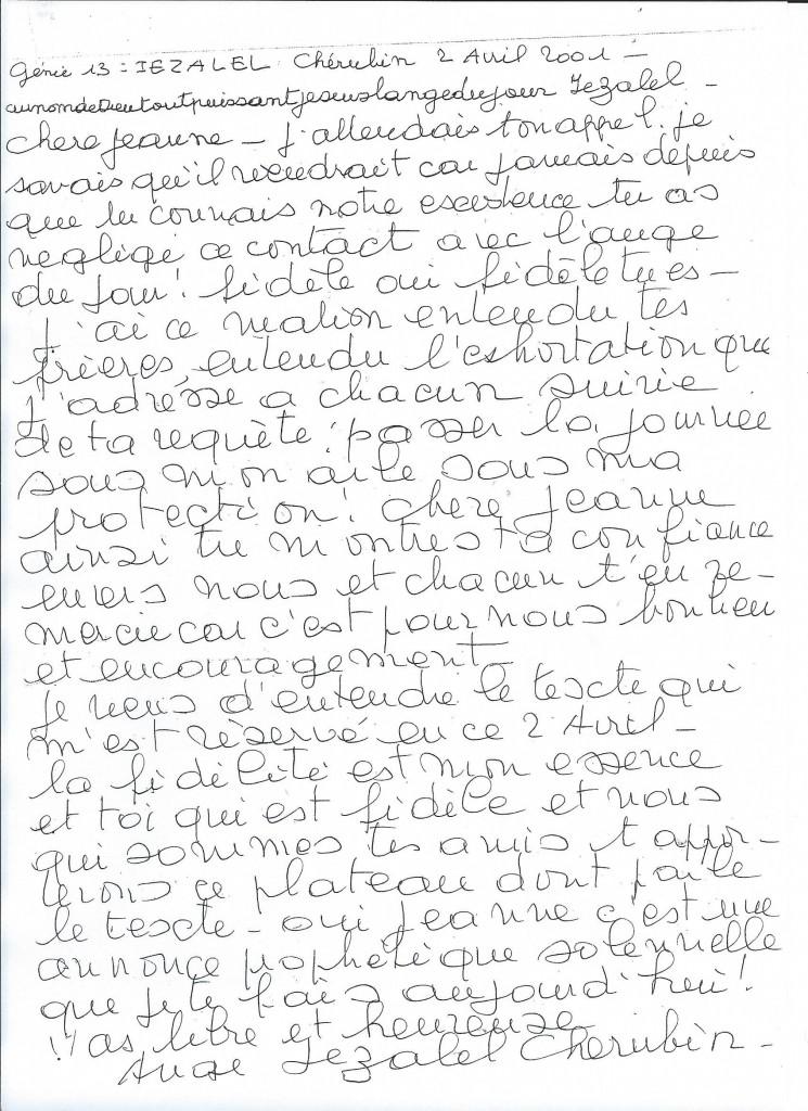 Communication du Génie numéro 13, Iezalel, le 2 avril 2001.