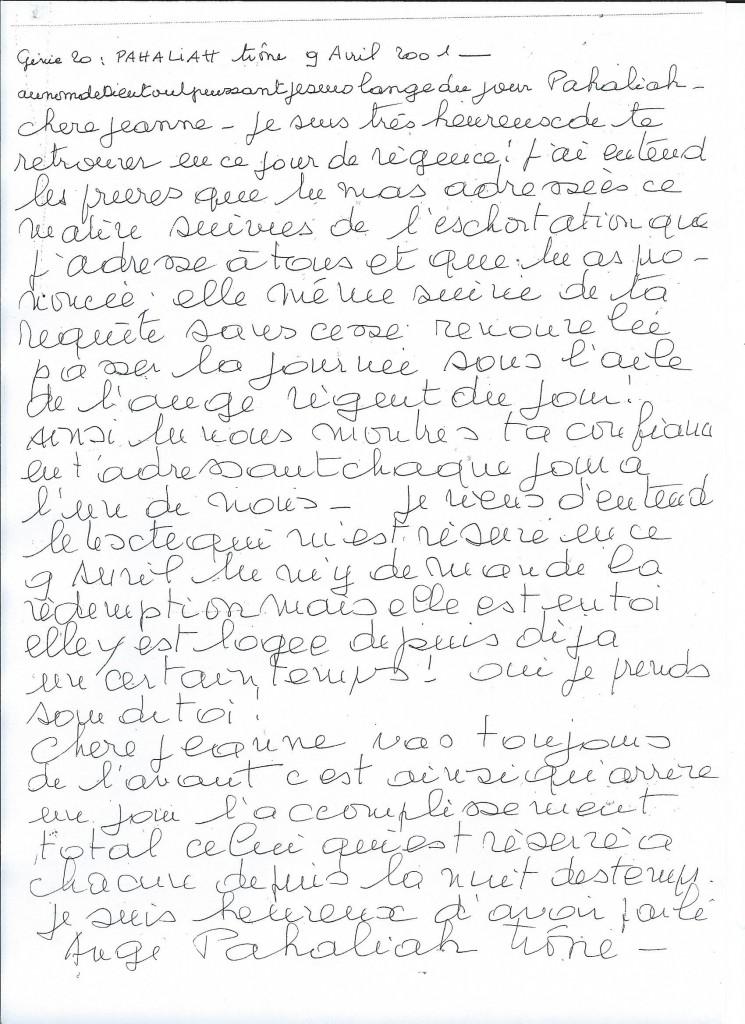 Communication du Génie numéro 20, Pahaliah, le 8 avril 2001.