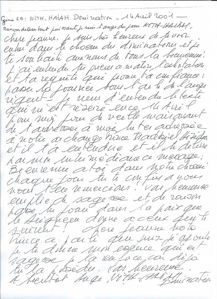 Communication du Génie numéro 25, Haiah, le 14 avril 2001.