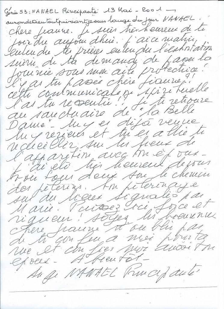 Communication du Génie numéro 53, Nanael, le 13 mai 2001.