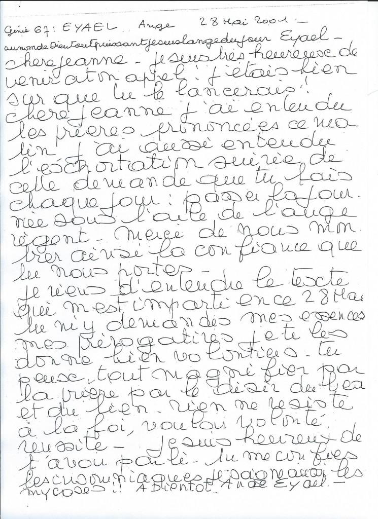 Communication du Génie numéro 67, Eyael, le 28 mai 2001.